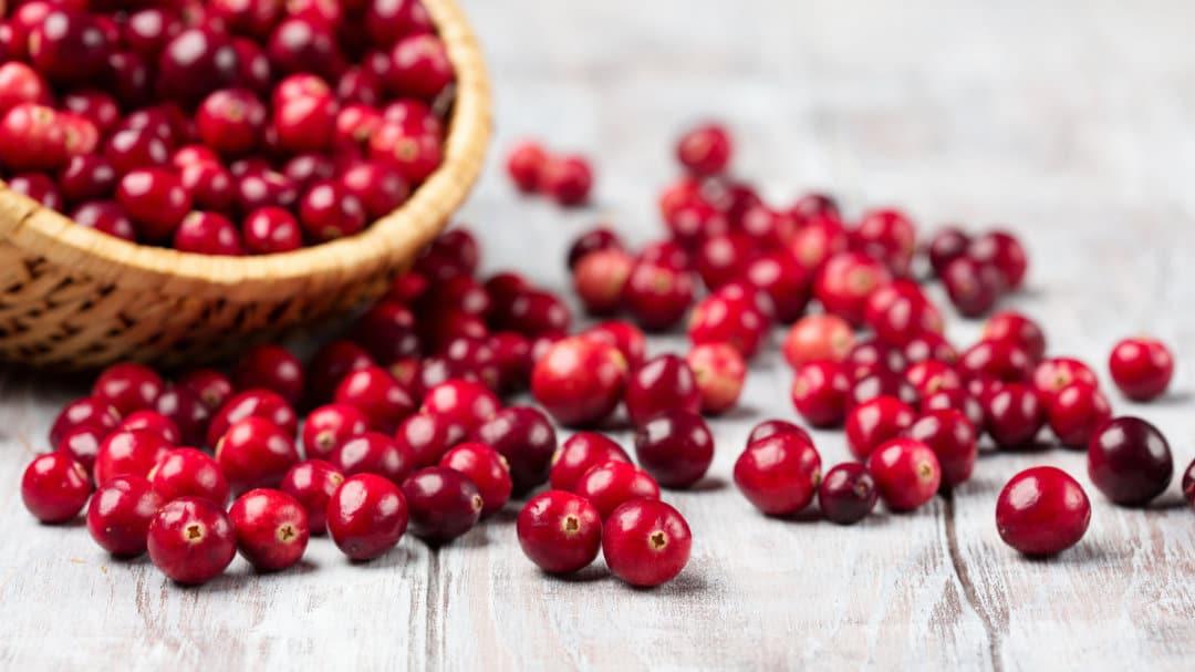 Reife Cranberrys liegen auf einem Holztisch neben einem Korb